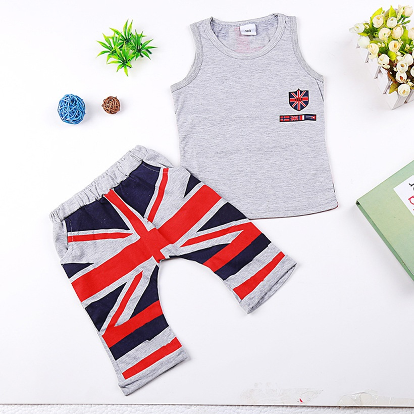 2ec317e6583d1 Fashion Summer Baby Boys Clothes Sets Kids Sport Suits Flag Sleeveless  T-Shirts Baby Clothing Vest + Pants Shorts Singlet
