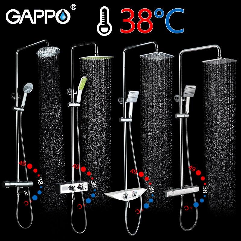 GAPPO душ Системы для ванной душ термостат кран Водопад настенное крепление Термостатический смеситель для душа с смесители для душа