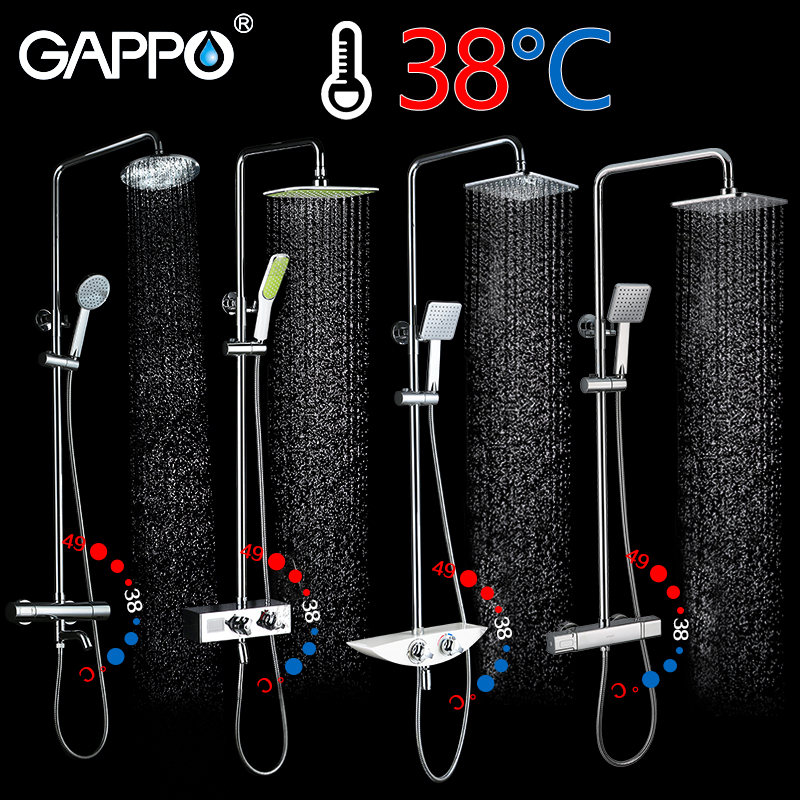 GAPPO Shower System bathroom shower thermostat faucet tap waterfall thermostatic shower mixer with shower faucets gappo shower system bathroom shower thermostat faucet mixer tap waterfall wall mount thermostatic mixer shower faucets taps
