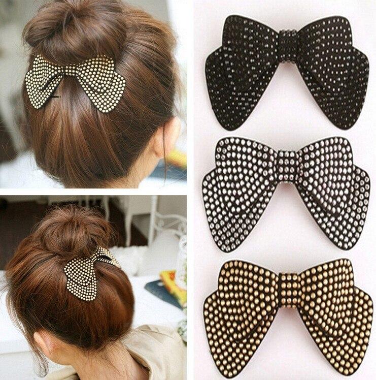 Горячая распродажа! двухслойная лента для волос с бантиком, эластичная лента для волос со стразами, заколка для волос, аксессуары для волос