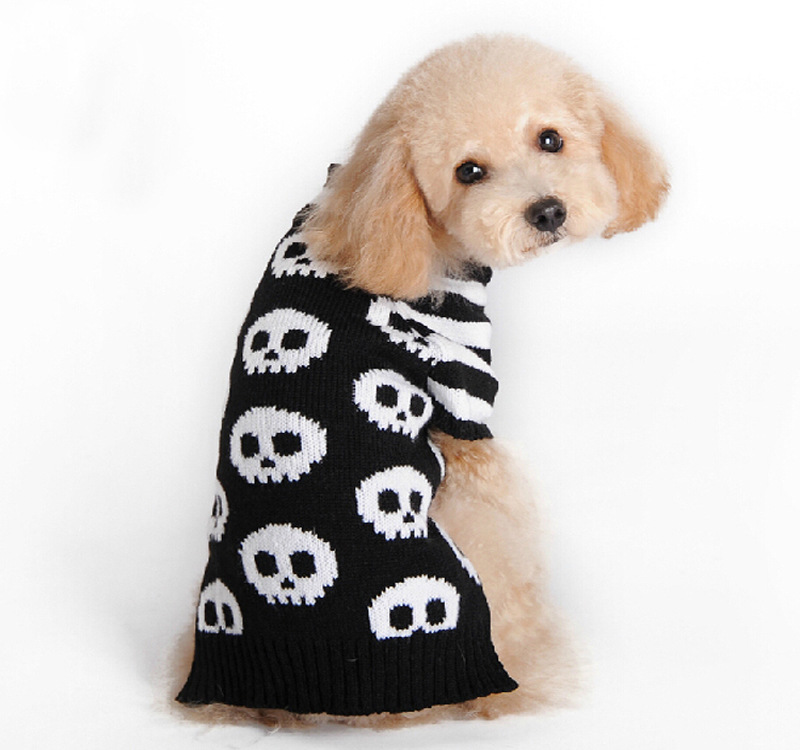 Knitting Coats For Dogs : Halloween skull warm pet dog cat crochet knit sweater