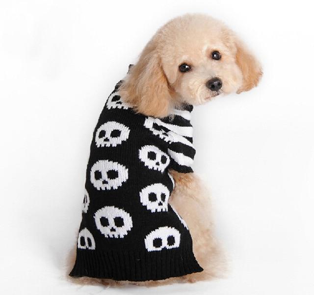 Halloween Skull Warm Pet Dog Cat Crochet Knit Sweater Pullover