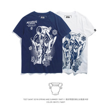 TEE7 ผู้ชาย t เสื้อ Anime Saint Seiya Aquarius เสื้อยืดคุณภาพสูงแฟชั่น 3D พิมพ์เสื้อยืด streetwear ฤดูร้อน