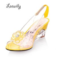 2016 Hot Sale Crystal Wedges Transparent Women High Heeled Sandals Plus Size 40 43 Rhinestone Peep
