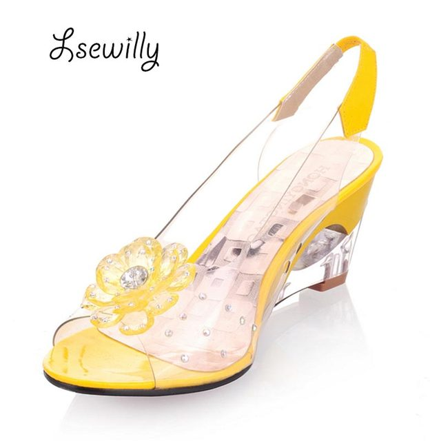 5ba805541acd Lsewilly Hot Sale Crystal Wedges Transparent Women high-heeled Sandals Plus  Size 40-43 rhinestone Peep Toe Jelly Shoes AA016