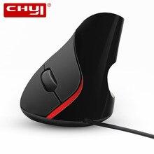 CHYI ergonomik dikey fare kablolu bilgisayar oyun fare 1600DPI optik sağlıklı ofis fare ile Mouse Pad PC Laptop için