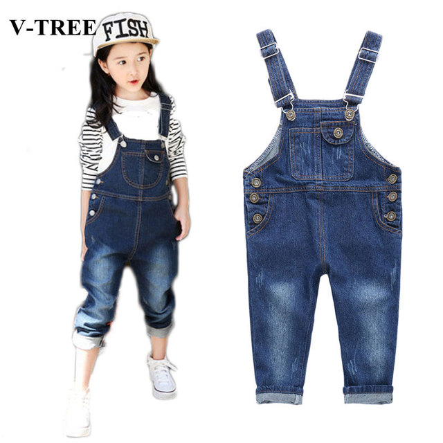 9d9b4dff8c7 V-TREE Girls Jumpsuit Fashion Boys Denim Overalls Children Trousers Kids  Jean Overalls For Teenagers Baby Dungarees Jeans