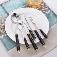 20pcs Ceramice Tableware Stainless Steel Flatware Set with Black Ceramic Handle Dessert Knife Fork Spoon Porcelain Tableware
