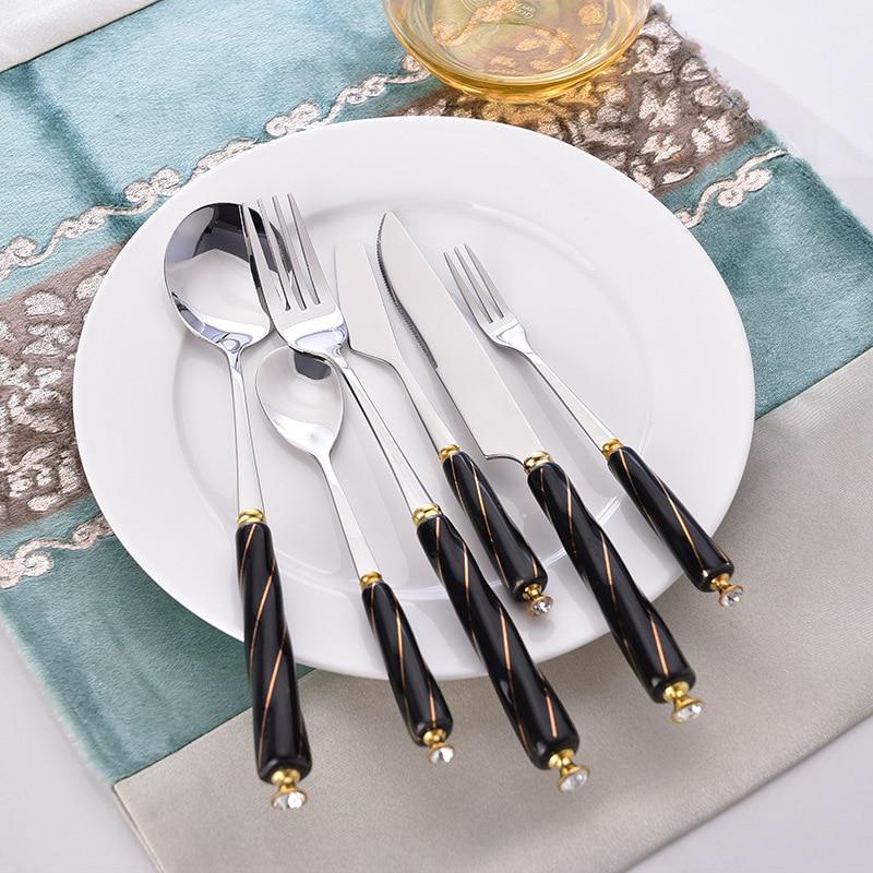 Ensemble de couverts en acier inoxydable avec poignée en céramique noire, couteau à Dessert, fourchette, cuillère, vaisselle en porcelaine 20 pièces