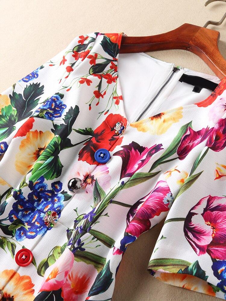 V cou Fleur Robe D'été Robes Nouveau Sexy Robes Femmes dessus Diamantée Genou Printemps Du Imprimer Lvydala Et De Boutons MpSUqzV