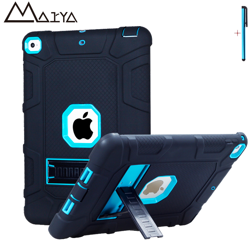 For iPad 2017 Case Kids Baby Safe Shockproof Heavy Duty Armor Silicone PC Hard Protective Tablet Case Cover For 2017 iPad 9.7in for apple ipad 9 7 2017 case with stand shockproof silicone hard pc heavy duty rugged armor defender cover for new ipad 9 7 2017