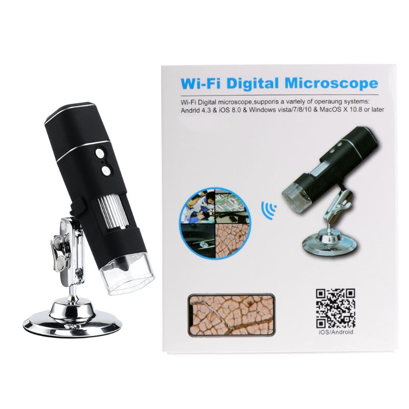 HD Digital Microscope Magnifier WiFi Wireless 8 LED 1000X Electric Video Camera with Base Stand Holder for IOS Android|Microscopes| |  - title=
