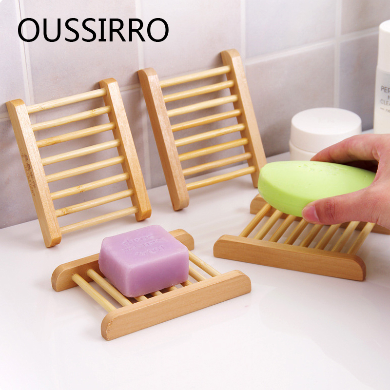 Natural Wood Soap Dish Soap Holder Bathroom Wood Dish Drying Rack Simple Drain Soap Storage Set Bathroom Accessories