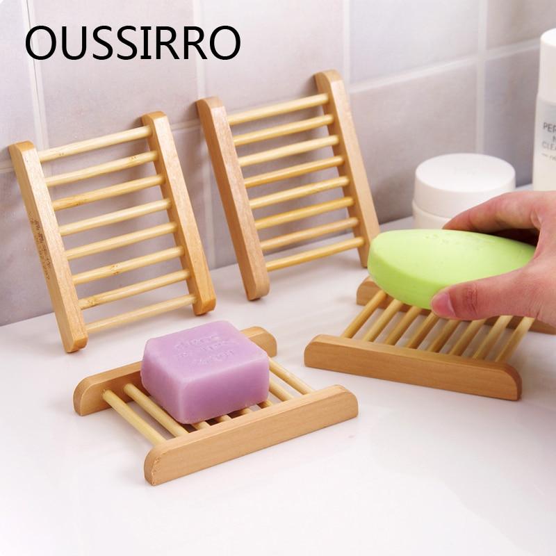 Natural Wood Soap Dish Soap Holder Bathroom Wood Dish Drying Rack Simple Drain Soap Storage Set Bathroom Accessories