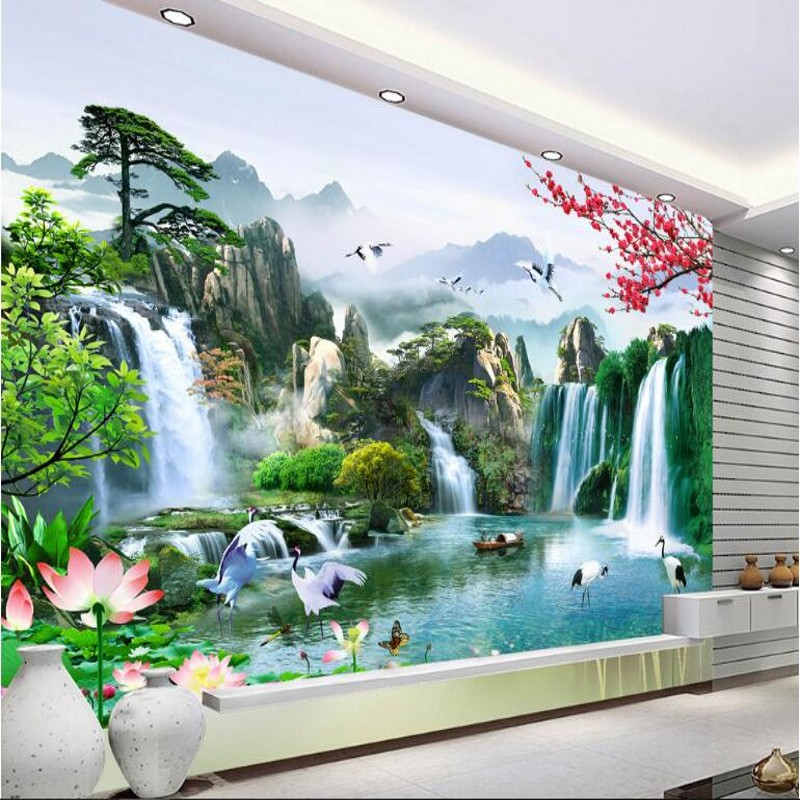beibehang Customized large - scale murals beautiful rivers flowing water wealth of Chinese TV background wall wallpaper