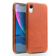 QIALINO Stylish Genuine Leather Case for Apple iphone XR 6.1 inches Ultra Thin Handmade Anti knock Back Cover for iphone XR