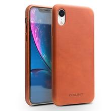 QIALINO スタイリッシュな本革ケースアップル iphone XR 6.1 インチ超薄型手作りアンチノックバックカバーのための iphone XR