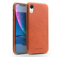 QIALINO أنيق جلد طبيعي حالة ل أبل iphone XR 6.1 بوصة رقيقة جدا اليدوية مضاد للخبط الغطاء الخلفي ل iphone XR