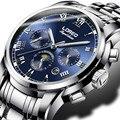 Loreo relógio do esporte dos homens de luxo esqueleto mecânico de aço inoxidável relógio de pulso dos homens moda de luxo da marca top men dress watch k02