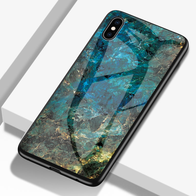 Luxury Jade Marble Glass Case For iPhone X XR XS Max 8 7 6 6s Plus Case Tempered Glass For iPhone XS Max Cover Shell Fundas in Fitted Cases from Cellphones Telecommunications