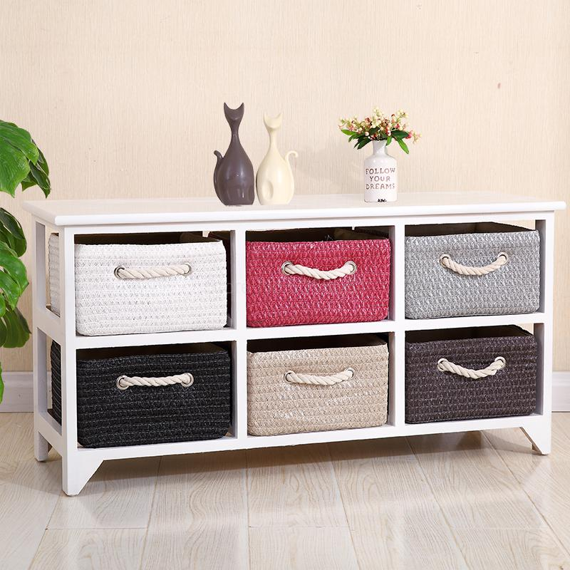 Solid Wood White Rattan Bedside Table