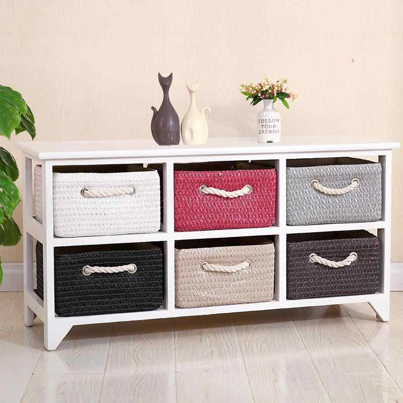 Solid wood white rattan bedside table simple drawer type garden storage storage small cabinet bedroom corner cabinet