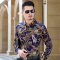 2016 Fashion Printed Men's shirt Luxury Brand high quality 100% pure Cotton chemise homme Casual long sleeve mens dress shirts