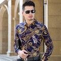 2016 Moda Impresso camisa dos homens Marca de Luxo de alta qualidade 100% puro Algodão chemise homme vestido de manga longa Ocasional dos homens camisas