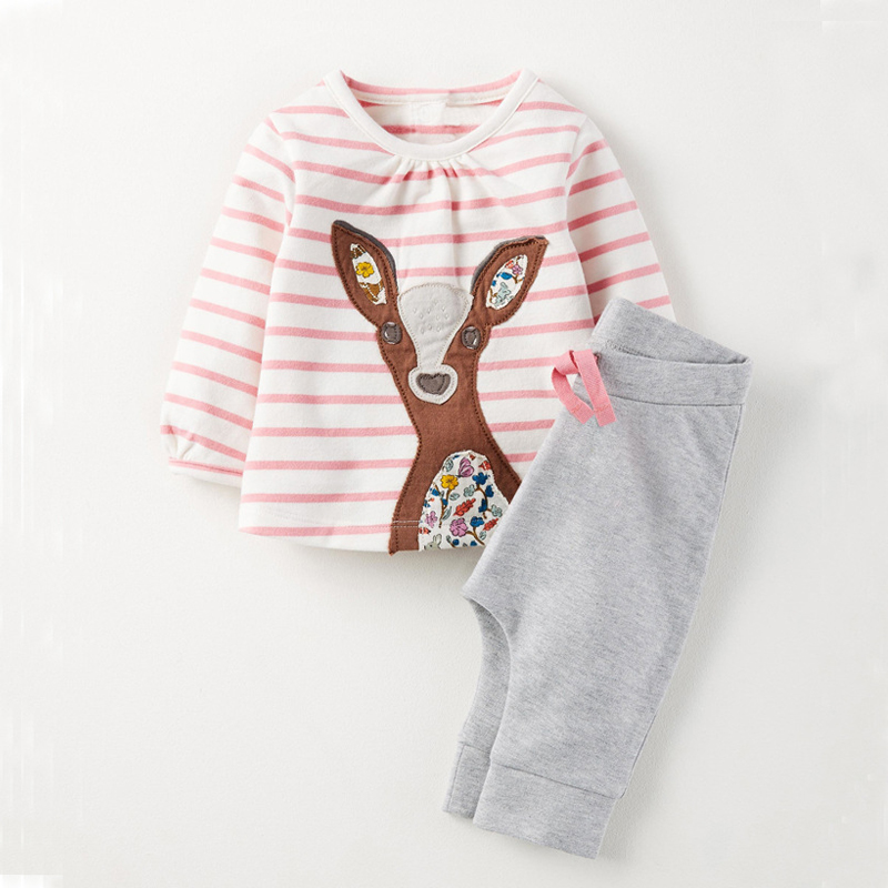 Melario Kids clothes Sets 2017New Autumn European and American Style Deer Print Children Long-Sleeve Clothes+Pants Girls Clothes new next fall girls graffiti sets european and american style printing zipper cardigan cartoon princess hot sale children s sets