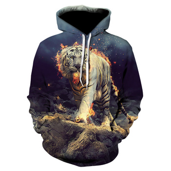Men's 3d flame tiger hoodie with a new animal-print hoodie for fall, and 2019 brand hoodie with a stylish tracksuit street coat фото