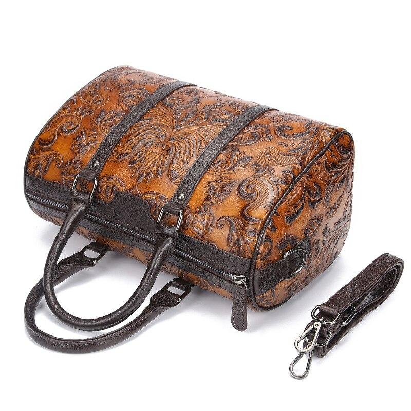 2019 Luxury Designer แบรนด์ผู้หญิงกระเป๋าถือสุภาพสตรีลายนูน Messenger ไหล่กระเป๋าหนังแท้ Crossbody กระเป๋า Totes-ใน กระเป๋าสะพายไหล่ จาก สัมภาระและกระเป๋า บน   3