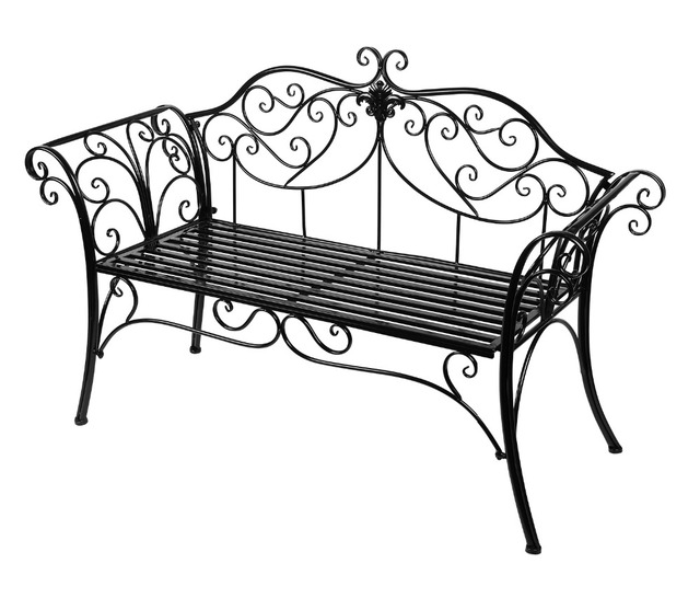 Two Seat Lawn Chairs Diy Glider Rocking Chair Cushions Hlc Black Outdoor Romance Bench For Garden Park Path Christmas Gift