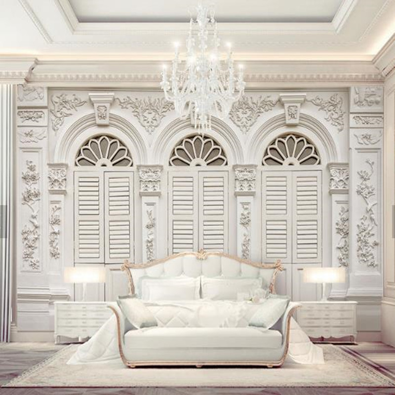 Custom Photo Wallpapers European Luxurious White Pattern Wall Papers for Walls 3D Living Room Background Home Decor Flower Mural european luxury wallpapers rolls non woven 3d wallpaper for living room bedroom walls papers home decor gold florals pattern