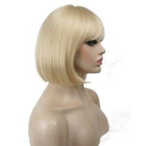 Image 3 - StrongBeauty 27 色女性のかつら合成黒/ブロンドきちんとビッグバンボブスタイル毛フルウィッグ