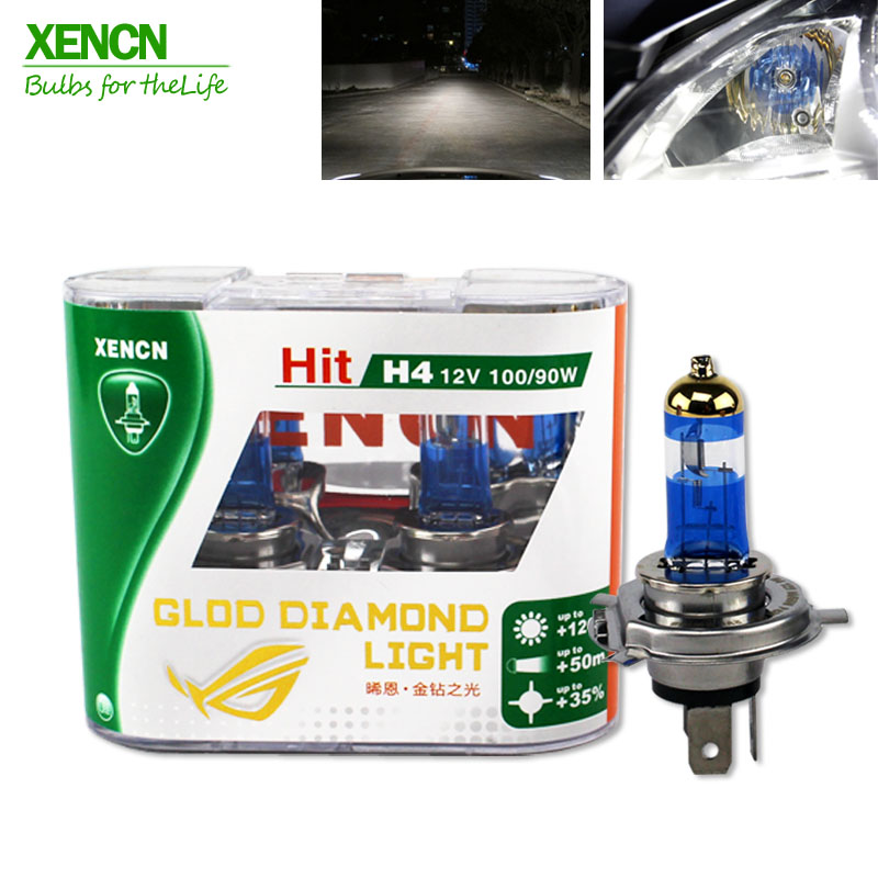 XENCN H4 P43t 12V 100/90W Gold Diamond Light Super Bright White Halogen Bulb Car Head Lamp car styling car light source parking 2pcs h4 30w 3000lm warm white light car head light