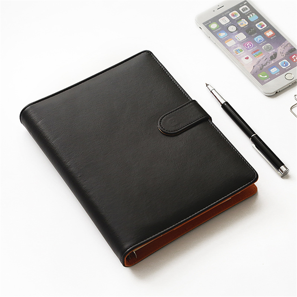 A5 Spiral Notebook Dokibook Diary Notepad Black Business Leather Loose Leaf Notepad School Office Supply Customized Logo a6 loose leaf binder notebook leather business lockable writing pads office school supplies logo name customized diary gift