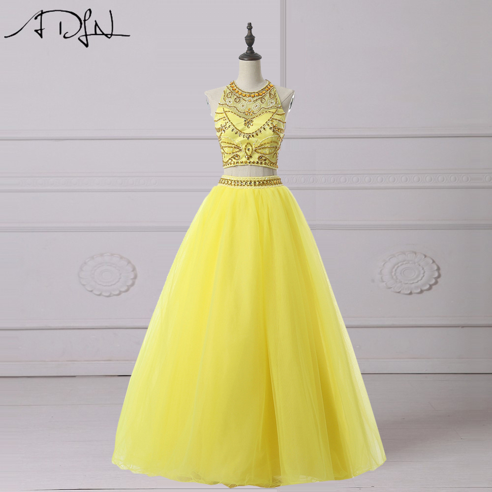 ADLN  Two Piece Quinceanera Dresses Charming Heavily Beaded Halter Yellow Prom Dress Sweet 16 Dress Debutante Gown