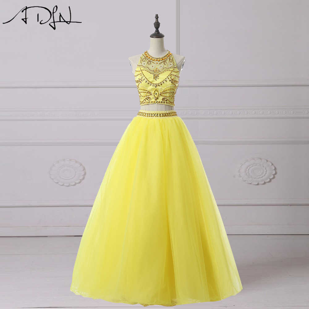 e899c1a552 ADLN Two Piece Quinceanera Dresses Charming Heavily Beaded Halter Yellow  Prom Dress Sweet 16 Dress Debutante