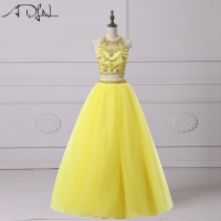 ADLN Real Photo Two Piece Quinceanera Dresses 2017 Charming Heavily Beaded Halter Yellow Prom Dress Sweet