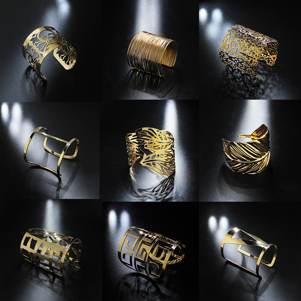 2019 الأزياء والمجوهرات الكلاسيكية أساور للنساء الجوف خارج خمر الشرير المعادن الإسورة الفضة الذهب الإسورة سوار الذكور السود