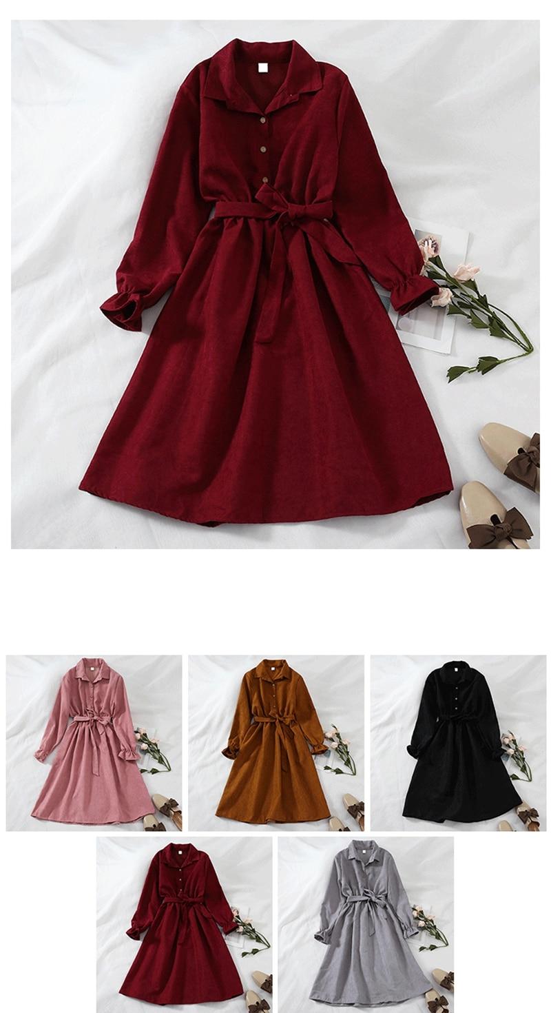 Mferlier Winter Dress Women Turn Down Collar Long Flare Sleeve Sashes High Waist Mori Girl 5 Solid Colors Vintage Shirt Dress 4
