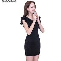 2018 Summer Fashion Elegant Ruffles Bodycon Dress Women Office Pencil Dress Sleeveless V Neck Sexy Mini Party Dresses Slim A0589