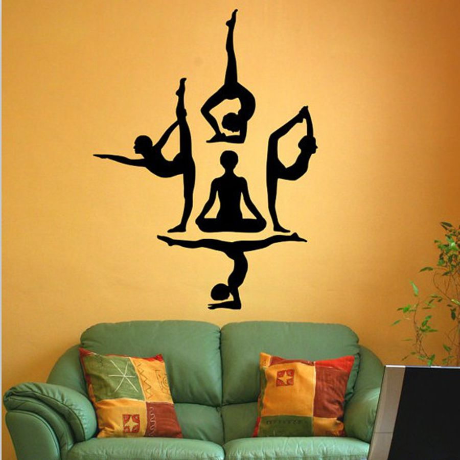 Free shipping Yoga wall stickers Yoga Poses WALL VINYL STICKER ...