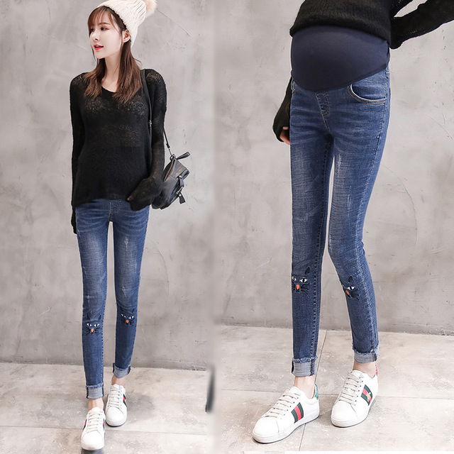 73c45ddb1ac8b Maternity Jeans For Pregnant Women Pregnancy Winter Warm Jeans Pants Maternity  Clothes For Pregnant Women Nursing Trousers