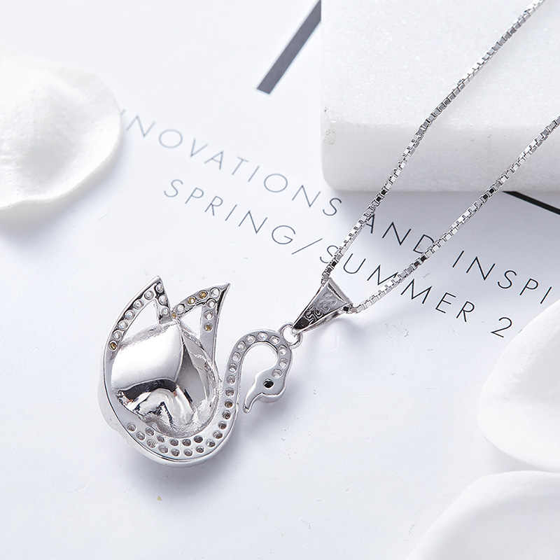 ... CDE Crystal from Swarovski Necklace Jewelry Women S925 Sterling Silver swan  Necklace Jewelry fashion Fine gift ...