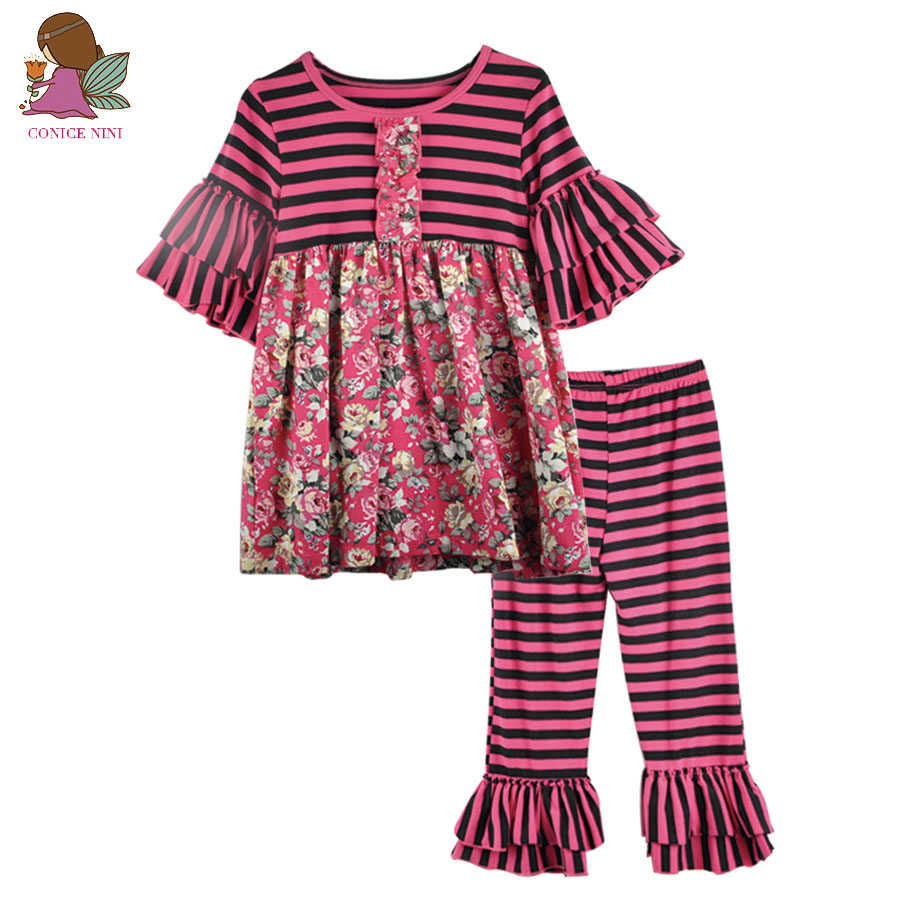 Hot Sale Persnickety Remake Boutique Girls Clothing Fall Winter Splicetop Dress Ruffle Pants Newborn Baby Outfit Clothes F139
