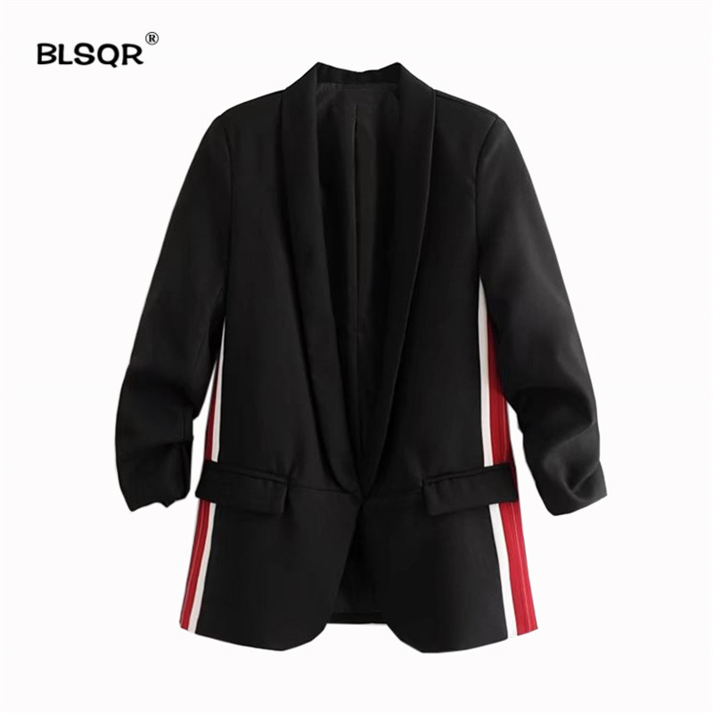 BLSQR Women Elegant Side Stripe Blazer Coat Three Quarter Sleeve Black Suit Blazer Office Lady Outerwear Female 2018 New