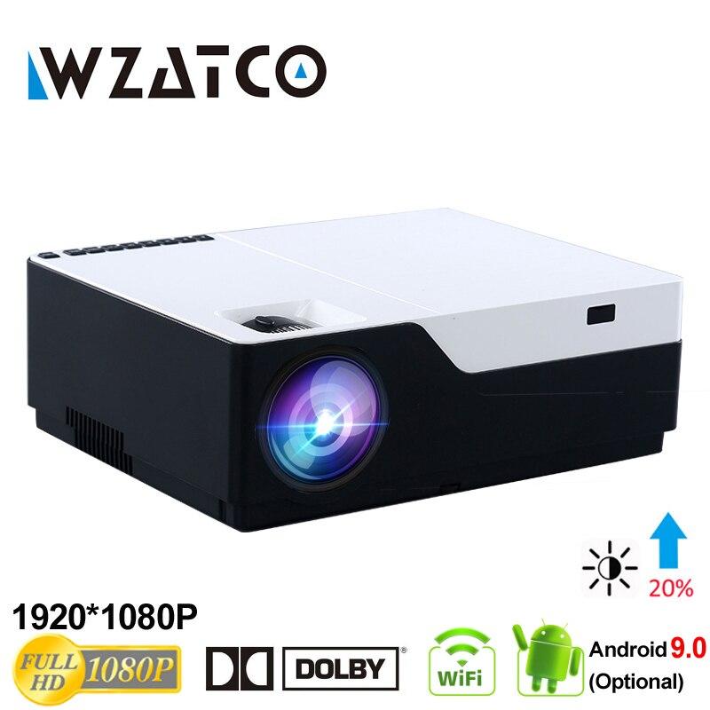 WZATCO 1080 P FULL HD vidéoprojecteur LED 5500Lu Android 9.0 WIFI Support AC3 Beamer Proyector pour jeu cinéma maison cinéma