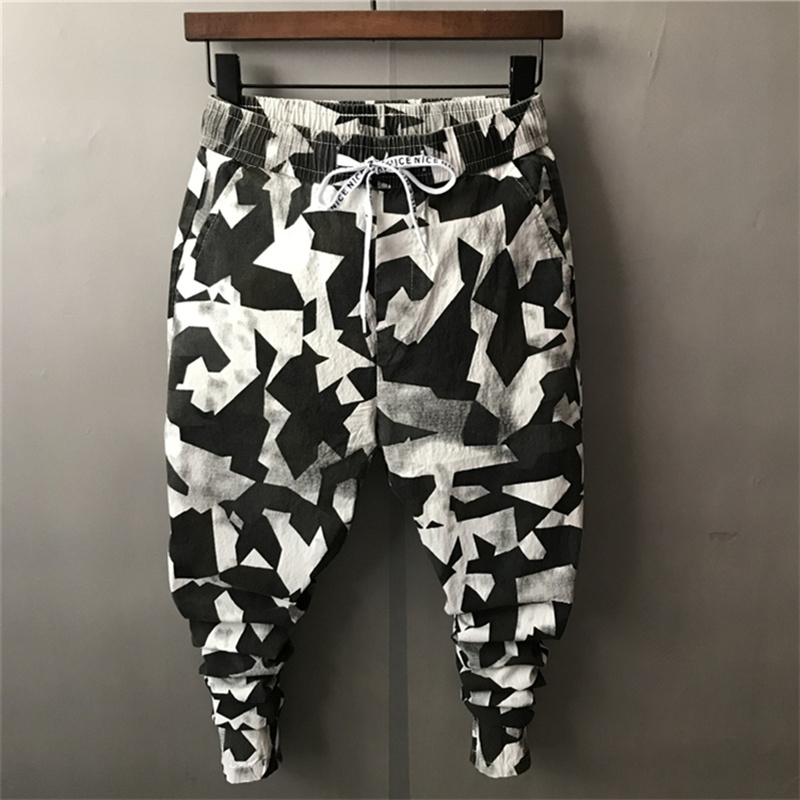 2018 New Black And White Camouflage Men's Slim Pencil Harem Pants South Korea All Match Youth Casual Trousers Ankle-Length Thin