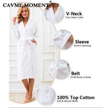 CAVME Pure Cotton Terry Bathrobe Kimono Spa Hotel Robe for Women Men Long Robes Family Homewear Toweling Nightgown Long Lounge